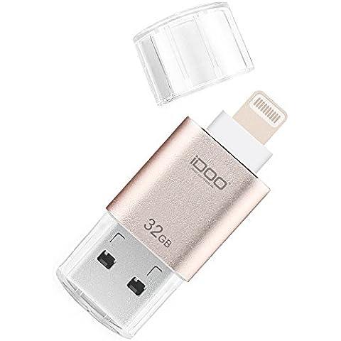iDOO Micro USB 3.0 (32GB) Memoria Flash para iPhone, iPad, MacBook, iMac, PC con conector certificado para Lightning Apple MFi -
