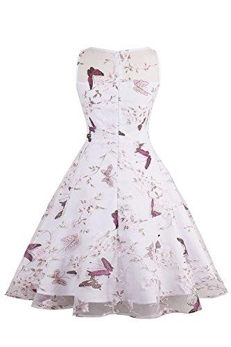 Robe de Cocktail Vintage Blanche Imprimée à Fleurs Robe de Soirée Rétro années 1950s Swing Dentelle en Tulle par MisShow Blanc