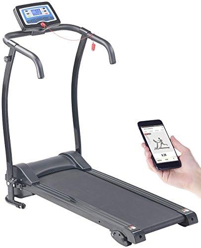 Newgen Medicals Laufband klappbar: Profi-Laufband mit App, Bluetooth, 12 Programmen, 10 km/h, 600 Watt (Laufband Fitness Stationen)