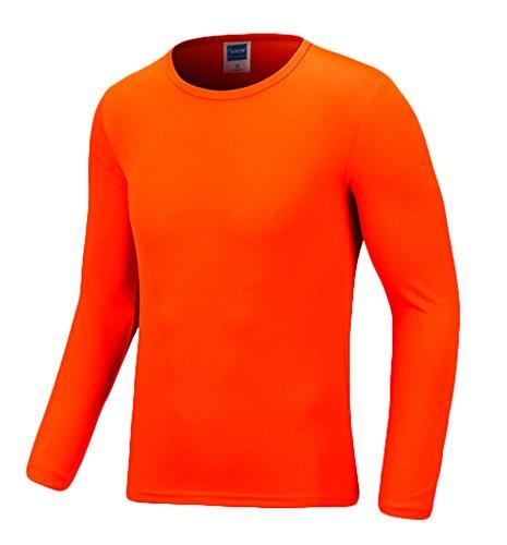 Lorraine Time Funky Boutique Herren lange Ärmel Sport Strecken body mit Rundausschnitt Größe S-XXXXL Zwölf Farben Orange