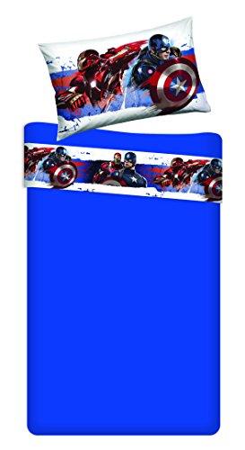 T&f 8051511301898 parure lenzuola marvel-capitan america, 100% cotone, singolo, 280x150x0.5 cm, 80 x 190 cm