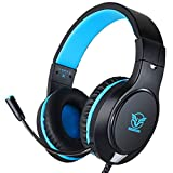 Gaming Headset für PS4, PC Gaming-Headset Surround Sound Kabelgebundenes Headset mit Mikrofon,  Kopfhörer Gaming Kompatibel für PS4, Xbox One, PC, Laptop, Tablet(Schwarz&Blau)