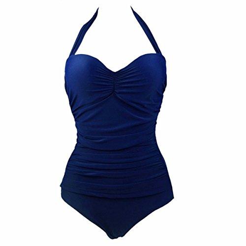Samtree Badeanzug für Damen, klassisch, 50er-Jahre-Badeanzug, Pin Up Bademode - Blau - (Passen 38 & C-D Körbchengröße) - 60er-jahre-one Piece