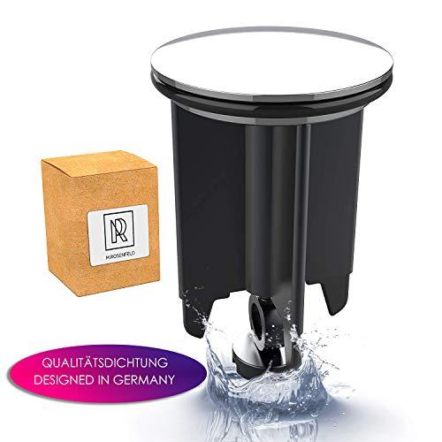 M. ROSENFELD Waschbeckenstöpsel 40mm Chrom Abflussstopfen - aus Messing, universal mit Gummi für Waschbecken im Bad und Bidets - Excenterstopfen - Höhenverstellbar, Rostfrei & Dicht