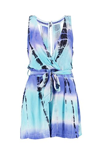 Turquoise Femmes Zoe Tie Dye Emballage Avant Playsuit Turquoise