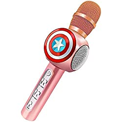 Mihoon Wireless Bluetooth Karaoke Microphone 3-en-1 Altavoz de mano portátil para Home Party KTV Canto Compatible con Apple iPhone iPad Android Smart phone PC (Diseño de Capitán Americano, Rosado)