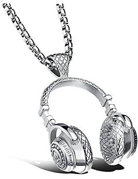 bigshopDE Herren Edelstahl Halskette Musik Kopfhörer Anhänger Silber 60cm Kette