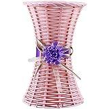 Voberry Voberry Nice Plastic Rattan Weaving Vases asket Flower Arranget Flower Basket Home Table Decoration (B,)