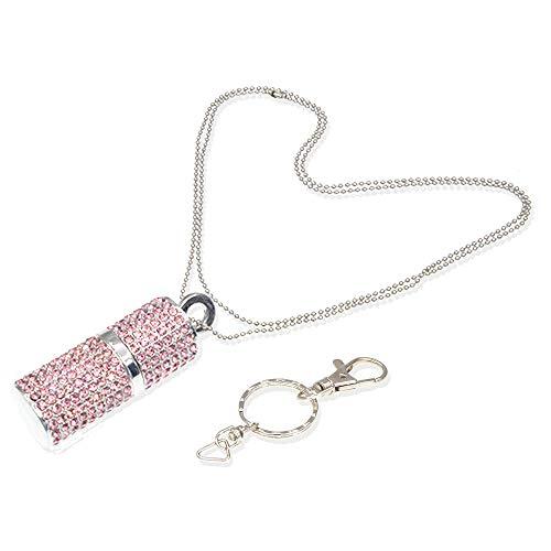 16gb chiavetta usb gioielli usb 3.0 pendrive cristallo pennetta usb bling strass rosa 16 gb chiave usb caso rossetto glitter usb stick con portachiavi portatile, collana, confezione regalo di kepmem