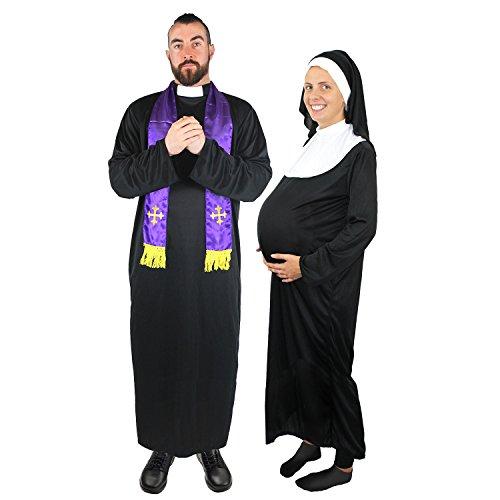 ster+Schwangere Nonne=Paare KOSTÜM VERKLEIDUNG=Fasching Karneval Halloween=SÜNDER BISCHOF-Kardinal=JUNGESELLENABSCHIED=Priester-XLarge + Nonne-MEDIUM ()
