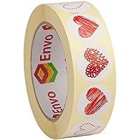 1,000 Rouge Coeur Autocollants Stickers 30mm - 4 Conceptions Dans 1 Rouleau - 250 Etiquettes De Chaque Style ( Style 1 )