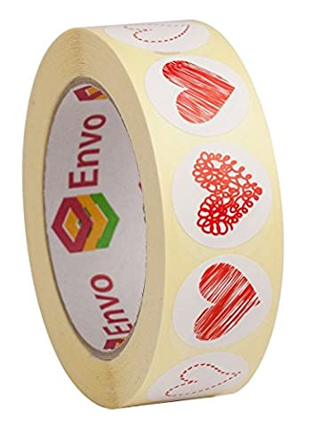 1000 Red Heart Stickers For Envelopes 4 Designs In 1 Roll - 250 Red Heart Label Designs From Each Style For Envelope Seal ( Style 1 )