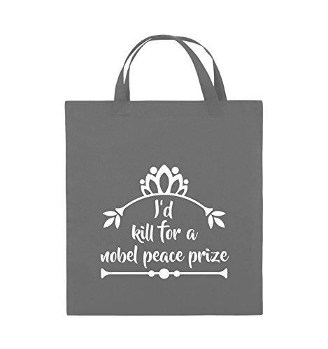 Comedy Bags - I'd kill for a nobel peace prize - Jutebeutel - kurze Henkel - 38x42cm - Farbe: Schwarz / Pink Dunkelgrau / Weiss