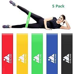 AGM Bande Elastique Fitness, Bande de Resistance Équipement d'Exercices pour Sport Musculation, Yoga, Récupération, Pilates (Set de 5)