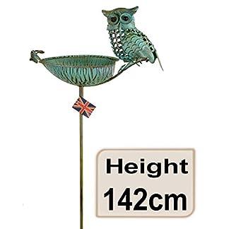 east2eden Verdigris Metal Owl Free Standing Bird Bath Birdbath Wild Birds Feeder 6