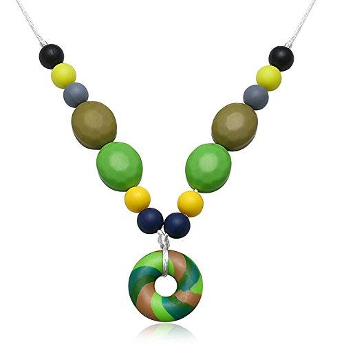 Epinki Beißringe Baby Kette Lebensmittelechtes Silikon Zahnen Anhänger Halskette Rund Bunte Chewelry Mama Kette 80cm