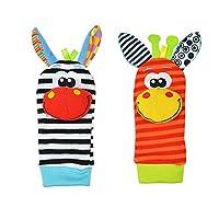 Lumanuby 4 Pcs/Set Soft Baby Toy Wrist Rattle Strap Socks Cute Donkey Monkey Panda Dog Cartoon Garden Bug Plush Rattle With Ring Bell Promote Baby