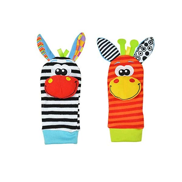 Lumanuby 4 Pcs/Set Soft Baby Toy Wrist Rattle Strap Socks Cute Donkey Monkey Panda Dog Cartoon Garden Bug Plush Rattle With Ring Bell Promote Baby's Vision, Hearing And Intelligence Development 1