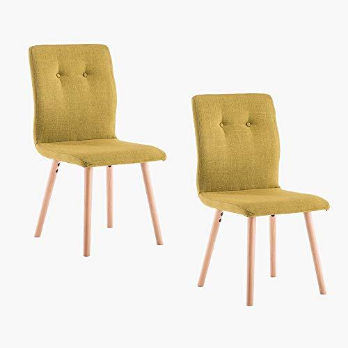 2 sillas de comedor amarillo mostaza