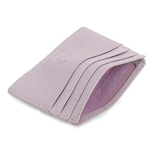 Real Leather Credit Card Holder - Ultra Thin Design - Front Pocket Wallet - RFID (Lavender)