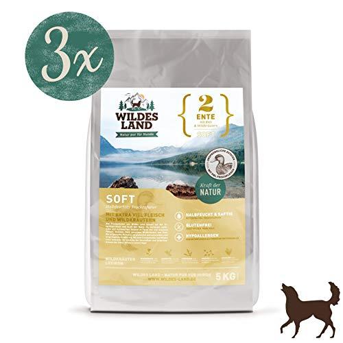 Wildes Land | Halbfeuchtes Trockenfutter für Hunde | Nr. 2 Ente | 15 kg | mit Reis und Wildkräutern | Glutenfrei | Extra viel Fleisch | Soft Alle Hunderassen | Beste Akzeptanz und Verträglichkeit