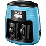 Coffee Maker, Aicook Filter Coffee Machine, Mini 2 Cup Coffee Makers, Travel Coffee Maker with 2 Ceramic Cup, Anti-Drip System, Permanent Reusable Filter, Black and Silver