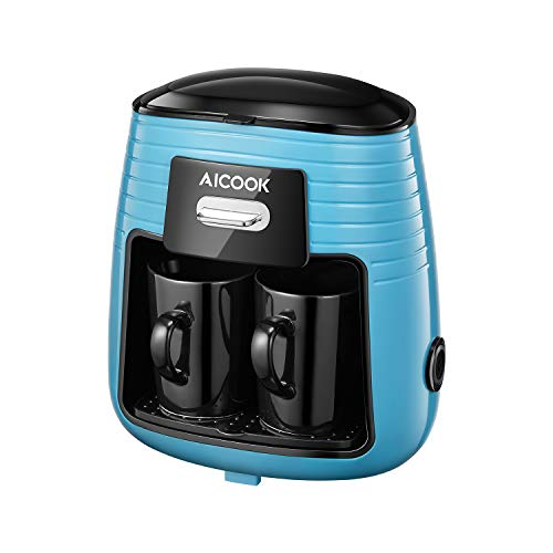 Coffee Machine, Aicook Filter Coffee Maker, Mini 2 Cup Coffee Maker, Travel Tea Maker with 2 Ceramic Cups, Anti-Drip System and Permanent Reusable Filter, Black/Blue