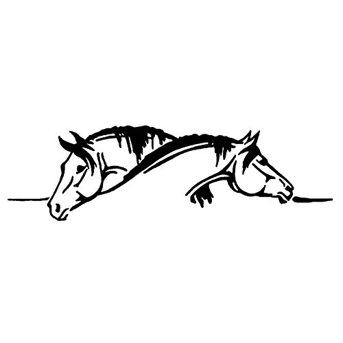 SPA Green : 26*7.5CM Creative Two Horses Graphical Car Sticker And Decal Funny Animal Car Styling Black/Silver S1-2110