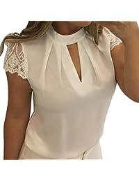 Damen Chiffon Bluse Elegant Tunika Top Lose Hemd Sommerhemd Kurzarm  Hemdbluse Herbst Sommer Oberteile von Bluelucon 4f664e557d