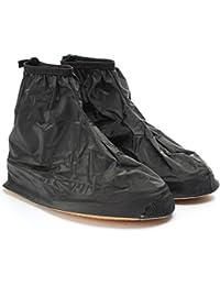 Buwico® 1par de zapatos de lluvia impermeable de gran calidad para hombre ciclo Lluvia Botas Plano antideslizantes CUBREZAPATILLAS de ciclismo Lluvia Gear, plástico, negro, XL