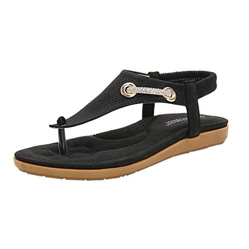 Leather Square Toe Mokassins (Fenverk Sandalen Damen Sommer Flip Flops Bohemian Flach Zehentrenner Mit Strass Sandals, Frauen Sandaletten Pu Leder Beige, Pink, Schwarz 35-41(Schwarz B,36 EU))