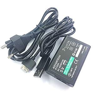 Tellaboull Stabiles Ladegerät Zuverlässige Leistung Netzteil für Sony für PS Vita Wechselstromversorgung Konvertieren Sie Ladegerät USB-Datenkabel US-Stecker