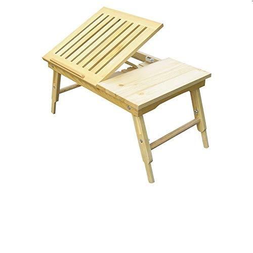 Laptop-Tisch, Multifunktionaler Massivholz-Lazy-Tisch, Klappbares Stauraumbett, Russisches Kiefernholz, Klappbarer Laptop-Tisch (Color : WoodColor)