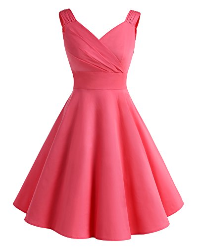 Bridesmay Damen Vintage 50S Retro Partykleid Rockabilly Kneilang Coaktailkleid Blush 2XL