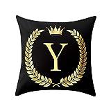 TianranRT Funda de almohada funda de almohada funda de almohada sofá negro y carta de oro decoración para el hogar (Y)