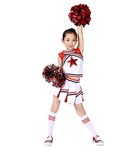 LOLANTA Cheerleader-Kostüm für Mädchen, Cheerleader-Kostüm für Kinder, mit Bommeln, Socken, roter St (128/134) (Für Halloween Kinder Cheerleader Kostüm Für)