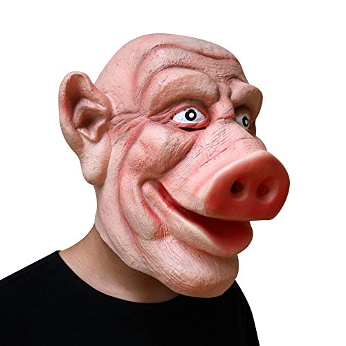 HBWJSH Halloween-Horror-Schweinekopfmaske, Spukhaus, Requisiten, Gehendes Totes Schwein, 8 Ringe