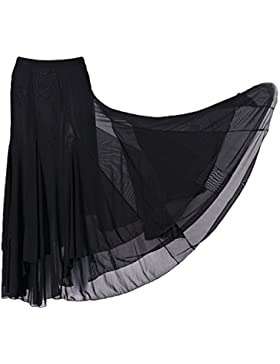 MagiDeal Falda Grande Vestido de Baile Cuadrado Malla Elástica De Moda Flamenco Tango Salsa Latin