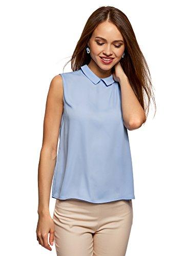 Schlüsselloch-ausschnitt Tunika (oodji Ultra Damen Ärmellose Bluse Basic mit Kragen, Blau, DE 36 / EU 38 / S)