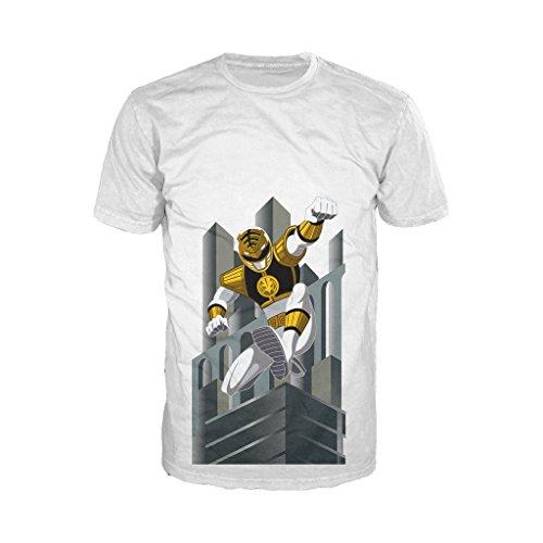 Power Rangers White Ranger Deco Official Men's T-Shirt (White) (XX-Large) (Power Rangers 20)