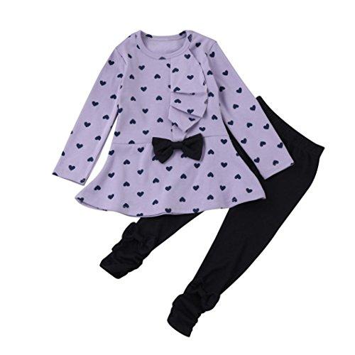 Babykleidung Kinder Mädchen Sommer Baby Bekleidungssets Sweatshirt Kleidung Lange Hülse Top + Hosen Set Kleider Outfits Set Stirnband Trainingsanzug Kleidung (12Monat-3T) LMMVP (Lila, 90(18 Monat)) (Bekleidung Lila Infant)
