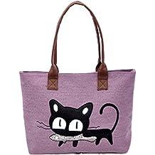 Bolso, Manadlian Nuevo Moda Mujer Bolsa de hombro Lindo bolso de gato Bolsa de lona Oficina Bolsa del almuerzo (42*28cm, C)