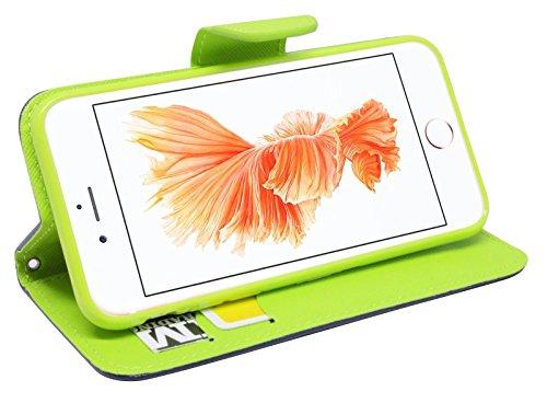 Iphone 8 PLUS // Buchtasche Hülle Case Tasche Wallet BookStyle mit STANDFUNKTION in Anthrazit @ Energmix Blau-Grün