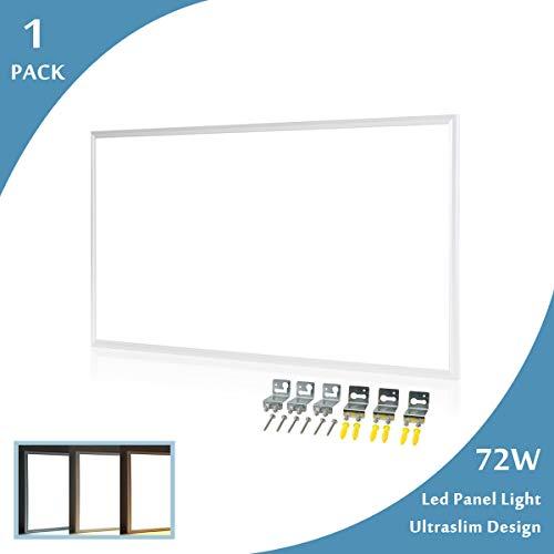 LED Panel Deckenlampe 120x60 Leuchten LED Deckenleuchte-Panel, Warmweiß/72W/5000lm/3000K/Silberahmen Wandleuchte mit Befestigungswinkel und Trafo