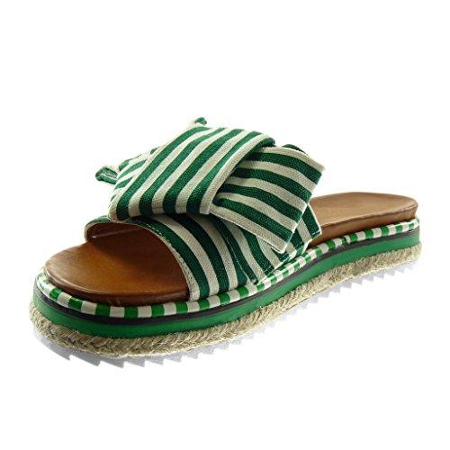 Angkorly Chaussure Mode Sandale Mule Slip-On Plateforme Femme Noeud Lignes Bicolore Talon Plat 3.5 cm Vert