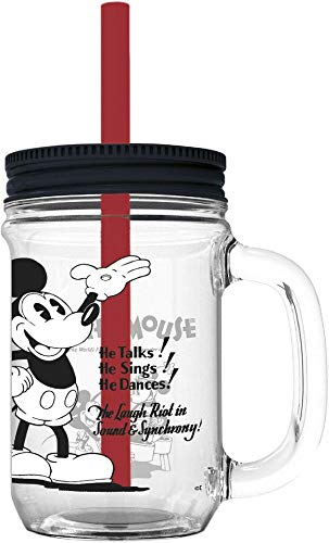 MICKEY MOUSE Jarro con Pajita Grande 690ml para Adulto 90' (01634), No Aplica