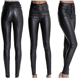 Pantalones Cuero Negro para Mujer Sexy Push up Skinny Invierno Otoño PAOLIAN Pantalones Leggings Elástica Piel Sintéticos Cintura Alta con Botones Pantalones Ajustado Flacos