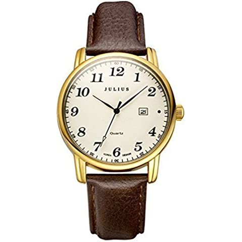 JULIUS JA-508-femmina, colore: oro, tonalità numero arabo al quarzo con Display analogico, stile Casual, con calendario-Orologio da polso da donna, Orologio impermeabile - 20 Diamanti Womens Watch