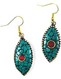 My Jewels Fashion Tibetan Earrings Dangle & Drop Hook Earrings For Women (Blue)