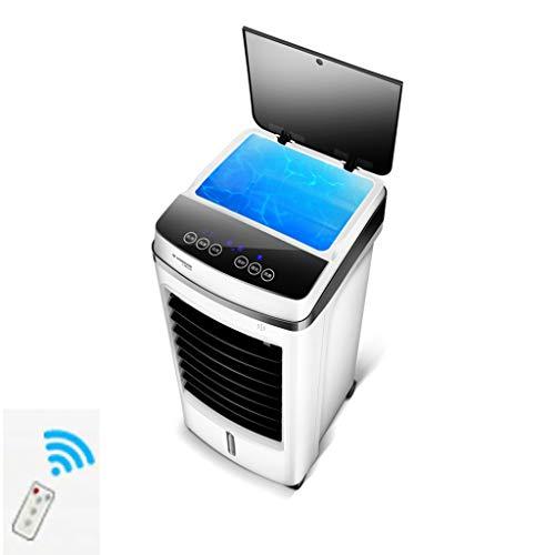 FUMANLI Luftkühler Verdunstungskühler mit Fernbedienung, Wasseraufbereiter Stand-Up-Turmventilatoren, die kalte Luft Blasen, Luftbefeuchter-Ventilator für Schlafzimmerbüro, weiß mit Rolle